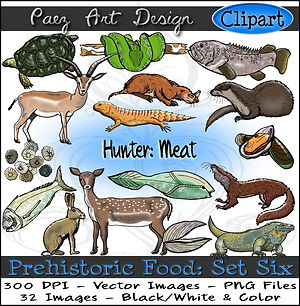 Prehistoric Era Clip Art Images | Food: Hunter, Meat, Seafood, Reptiles, Animals, Mollusks | History & Science Graphics | PaezArtDesign Digital Art