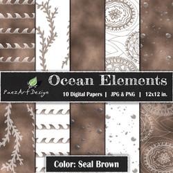 Ocean Elements: Seal Brown {PaezArtDesign}