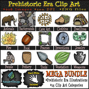 Prehistoric Era Clip Art Illustrations | History, Art, Science Graphics | MEGA Clip Art Bundle | PaezArtDesig Digital Art Images