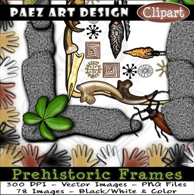 Prehistoric Era Clip Art Frames {PaezArtDesign}