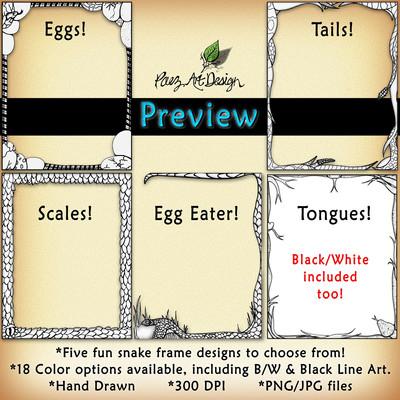 Snake Clip Art Frames: Black/White {PaezArtDesign}