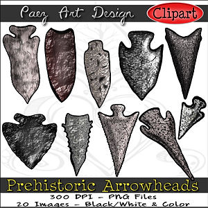 Prehistoric Era Clip Art Images | Weapons, Arrowheads | History & Science Graphics | PaezArtDesign Digital Arts