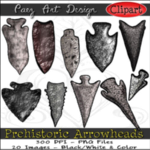 Prehistoric Era Clip Art Images | Weapons, Arrowheads | History & Science Graphics | PaezArtDesign Digital Arts