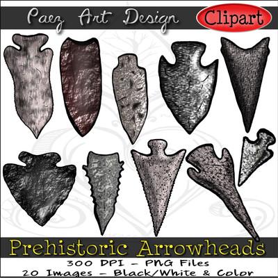 Prehistoric Era Arrowheads ClipArt {PaezArtDesign}