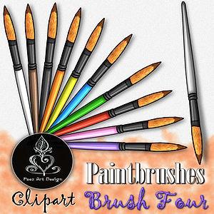 Paintbrush Clip Art Images | Round Tip Brush | Multi-color | PaezArtDesign