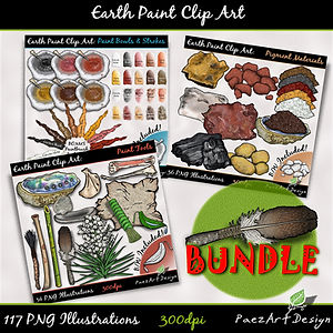 Earth Paint Clip Art: BUNDLE | PaezArtDesig Illustraton & Graphics | Digital Art Images for Education, Science, Social Studies, History, Art | Pigment Paint