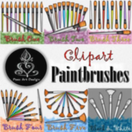 PaintBrush Clip Art Images | Brushes: Bright, Filbert, Round, Fan, Curvy Tip | PaezArtDesign Digital Art