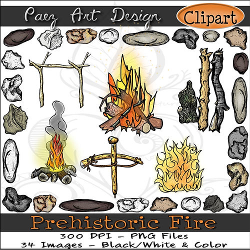 Prehistoric Era Clip Art Images | Fire, Invention, Innovation, Flint/Steel, Bowdrill, Fire pit, Primitive Skills | History & Science Graphics | PaezArtDesign Digital Arts