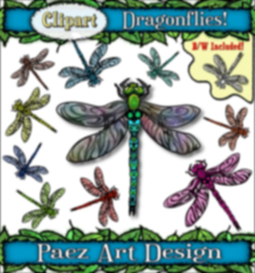 Dragonfly Clip Art Images | Insect Graphics | PaezArtDesign Digital Art