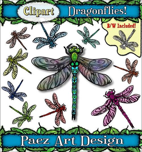 Dragonfly Clip Art Images | Insect Graphics | PaezArtDesign Digital Art