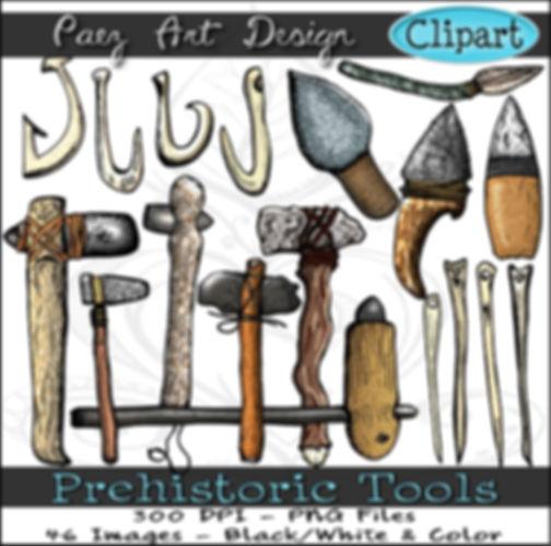 Prehistoric Era Clip Art Images   Tools, Fish Hooks, Bone Hooks & Needles, Hand Axe, Flint Knife & More   History & Science Graphics   PaezArtDesign Digital Arts