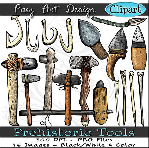 Prehistoric Era Clip Art Images | Tools, Fish Hooks, Bone Hooks & Needles, Hand Axe, Flint Knife & More | History & Science Graphics | PaezArtDesign Digital Arts