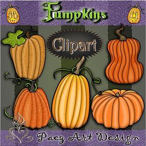 Pumpkin Clip Art | Halloween Art | Holiday Designs | PaezArtDesign