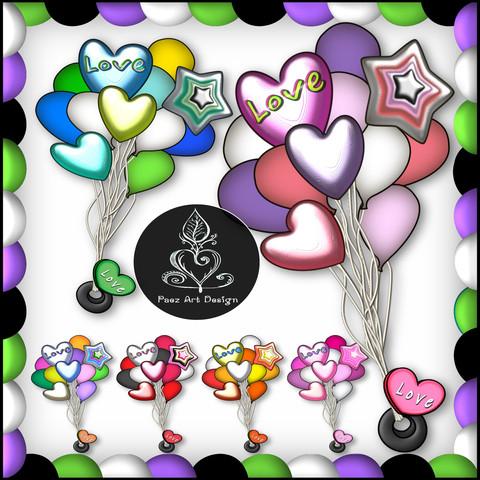 Valentine Balloon Clip Art {PaezArtDesign}