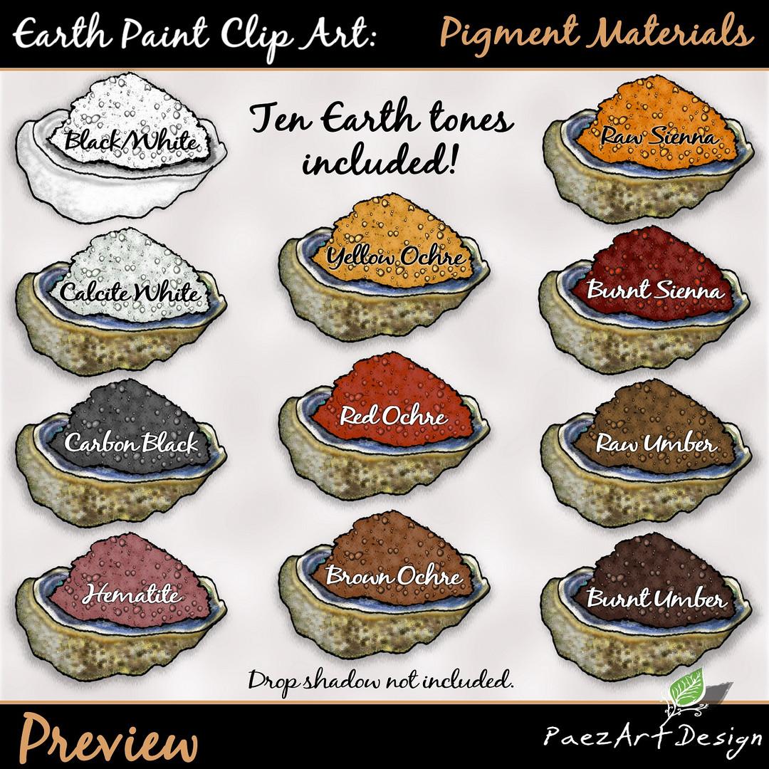 Earth Paint Clip Art_ Pigment Powder ColEarth Paint Clip Art: Pigment Materials {PaezArtDesign}