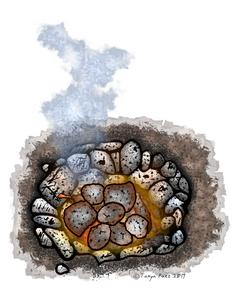 Earth Oven Cooking Pit Image | Prehistoric Clip Art Illustrations | PaezArtDesign Digital Art