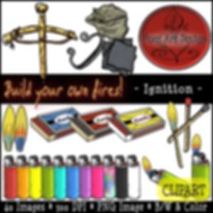 Fire Clip Art Images   Science Graphics   Educational   Ignition, Bowdrill, Flint, Steel, Matches, Matchbox, Lighters, Flame   PaezArtDesign Digital Art