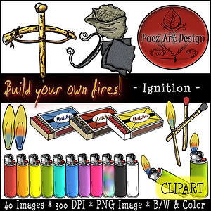 Fire Clip Art Images | Science Graphics | Educational | Ignition, Bowdrill, Flint, Steel, Matches, Matchbox, Lighters, Flame | PaezArtDesign Digital Art