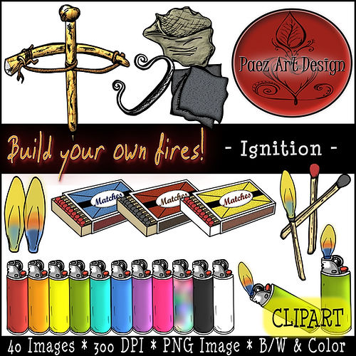 Fire Clip Art Images | Science Graphics | Educational | Ignition, Bowdrill, Flint, Steel, Matches, Matchbox, Lighters, Flame | PaezArtDesign Digital Art