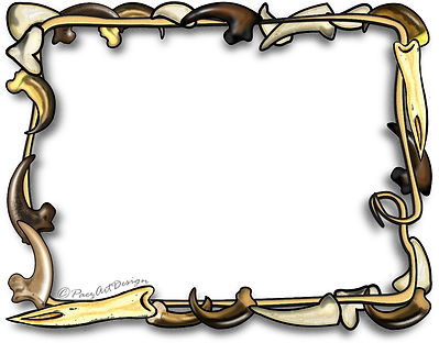 Prehistoric Era Clip Art Images | Digital Frames & Borders | Claw, Rawhide, Tooth Frame | History & Science Graphics | PaezArtDesign Digital Art