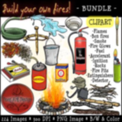 Fire Clip Art Images | Science Graphics | Educational | Extiguish, Detect, Fire Pits, Flames, Glow, Smoke, Fuel, Accelerant, Ignition, Stones, BUNDLE | PaezArtDesign Digital Art