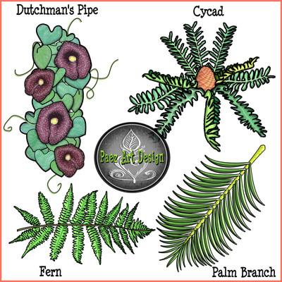 Prehistoric Era Vegetation Clip Art {PaezArtDesign}