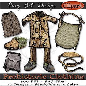 Prehistoric Era Clip Art Images | Clothing, Tunic, Shoes, Helmet, Belt & More | History & Science Graphics | PaezArtDesign Digital Arts