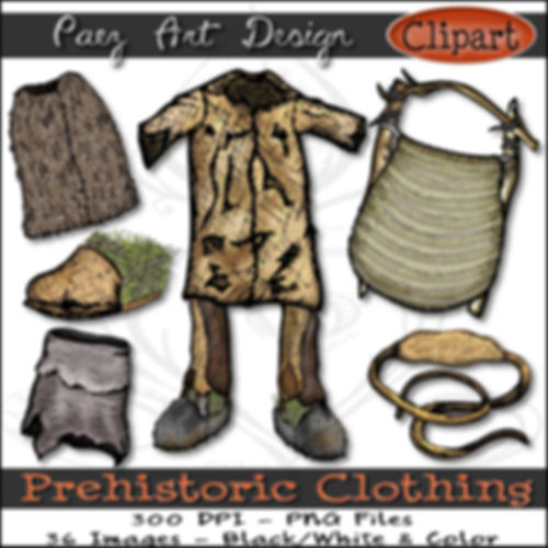 Prehistoric Era Clip Art Images | Clothing, Tunic, Shoes, Helmet, Belt & More | History & Science Graphics | PaezArtDesign Digital Arts