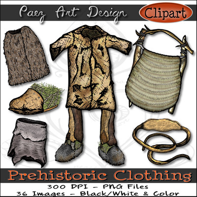 Prehistoric Era Clothing Clip Art {PaezArtDesign}