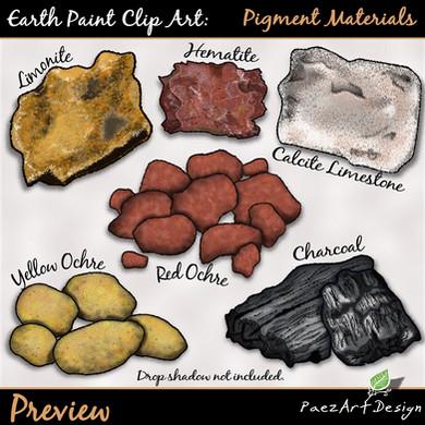 Earth Paint Clip Art_ Pigment Materials,Earth Paint Clip Art: Pigment Materials {PaezArtDesign}