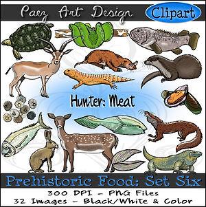 Prehistoric Era Clip Art Images | Food: Hunter, Meat, Seafood, Reptiles, Animals, Mollusks | History & Science Graphics | PaezArtDesign Digital Art