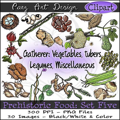 Prehistoric Era Food Clip Art Images | History Graphics | Vegetables, Tubers, Legumes, Misc. | PaezArtDesign Digital Art