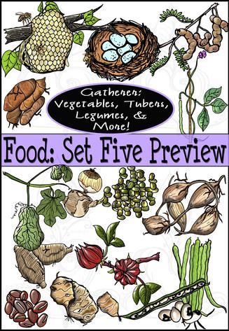 Prehistoric Era Foods: Gatherer- Vegetables, Tubers, Legumes, & More {PaezArtDesign}