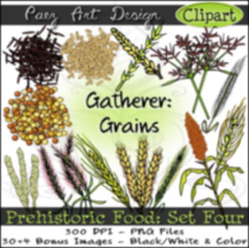 Prehistoric Era Clip Art Images | Food: Gatherer, Grains, Teosinte, Rice, Wild Oat, Grasses, Nutsedge, Sorghum & More | History & Science Graphics | PaezArtDesign Digital Arts