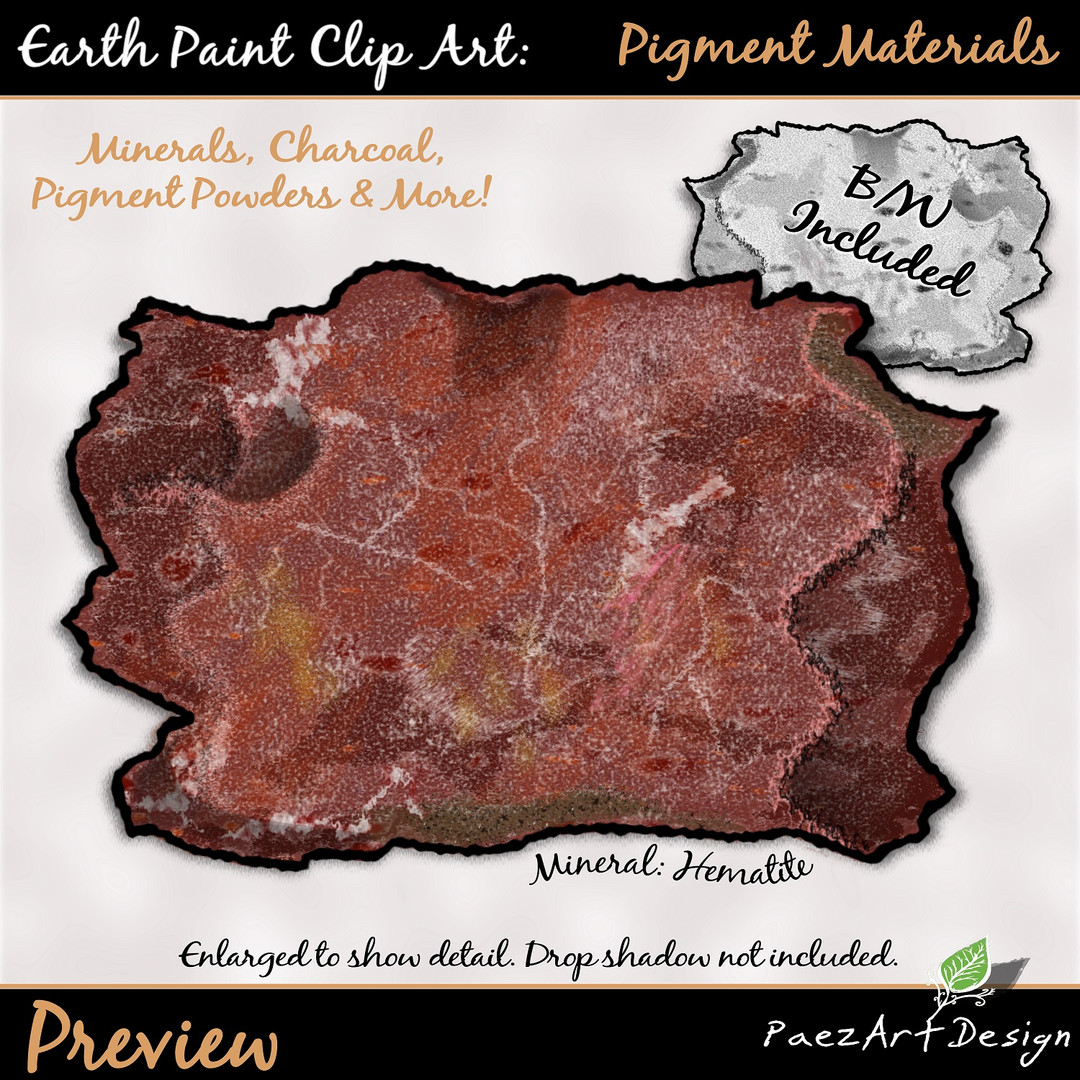 Earth Paint Clip Art_ Hematite Mineral {Earth Paint Clip Art: Pigment Materials {PaezArtDesign}