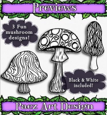Mushroom Clip Art {PaezArtDesign}