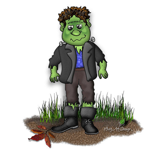 Halloween Graphics | Frankenstein | Holiday Clip Art | PaezArtDesign Digital Art