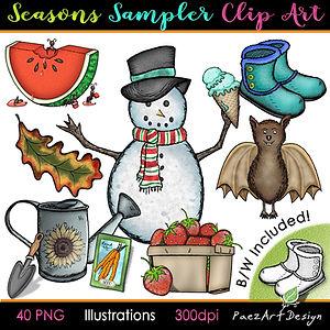 Seasonal clip art illustrations | Spring, Summer, Fall Autumn, Winter | PaezArtDesign Graphics