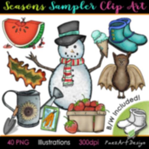 Seasonal Clip Art Illustrations   Summer, Fall Autumn, Winter, Spring   PaezArtDesign Graphics