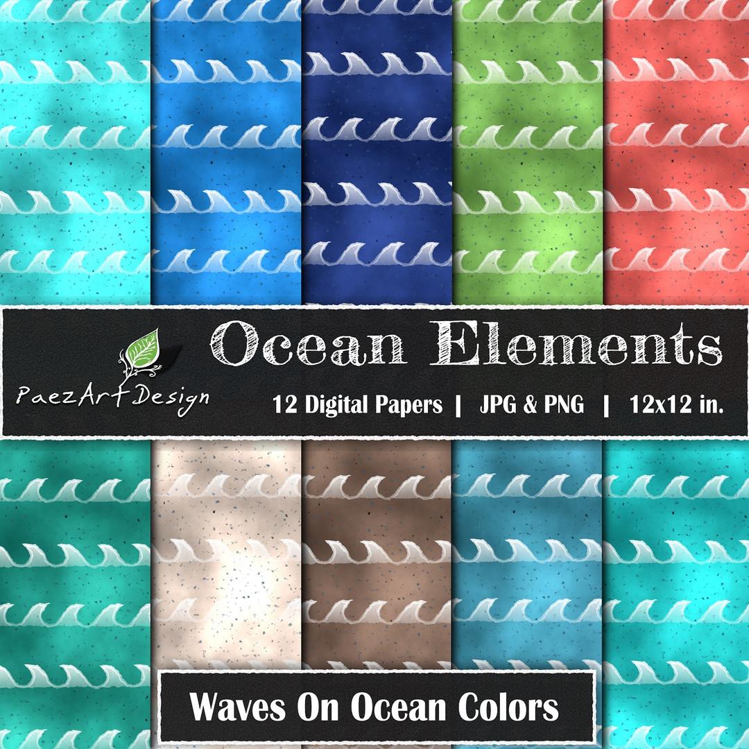 Ocean Elements: Waves On Color {PaezArtDesign}