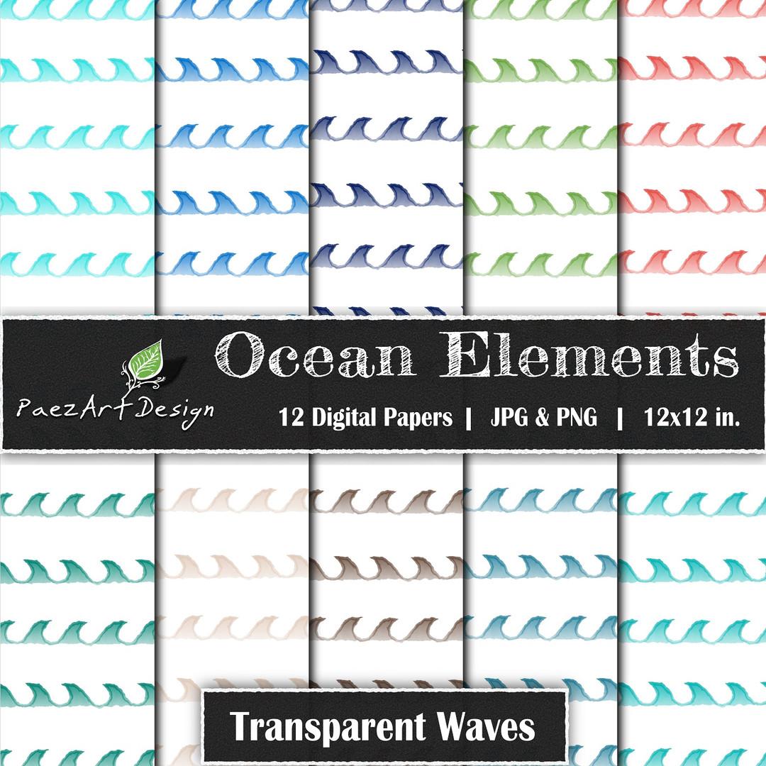 Ocean Elements: Waves Transparent {PaezArtDesign}