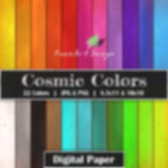 Cosmic Colors Digital Paper Backgrounds | Clip Art Components | 21 Colors | PaezArtDesign Digital Art