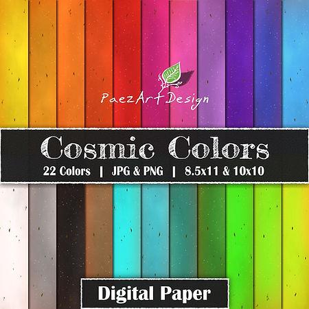 Cosmic Colors Digital Paper Backgrounds | Clip Art Components | 21 Colors | PaezArtDesign Digital Art