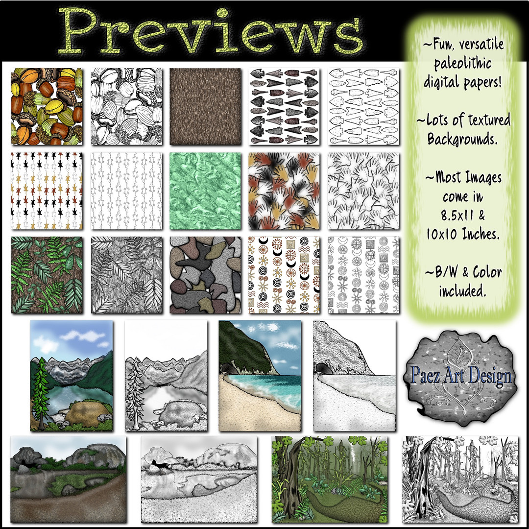 Prehistoric Digital Backgrounds & Papers {PaezArtDesign}