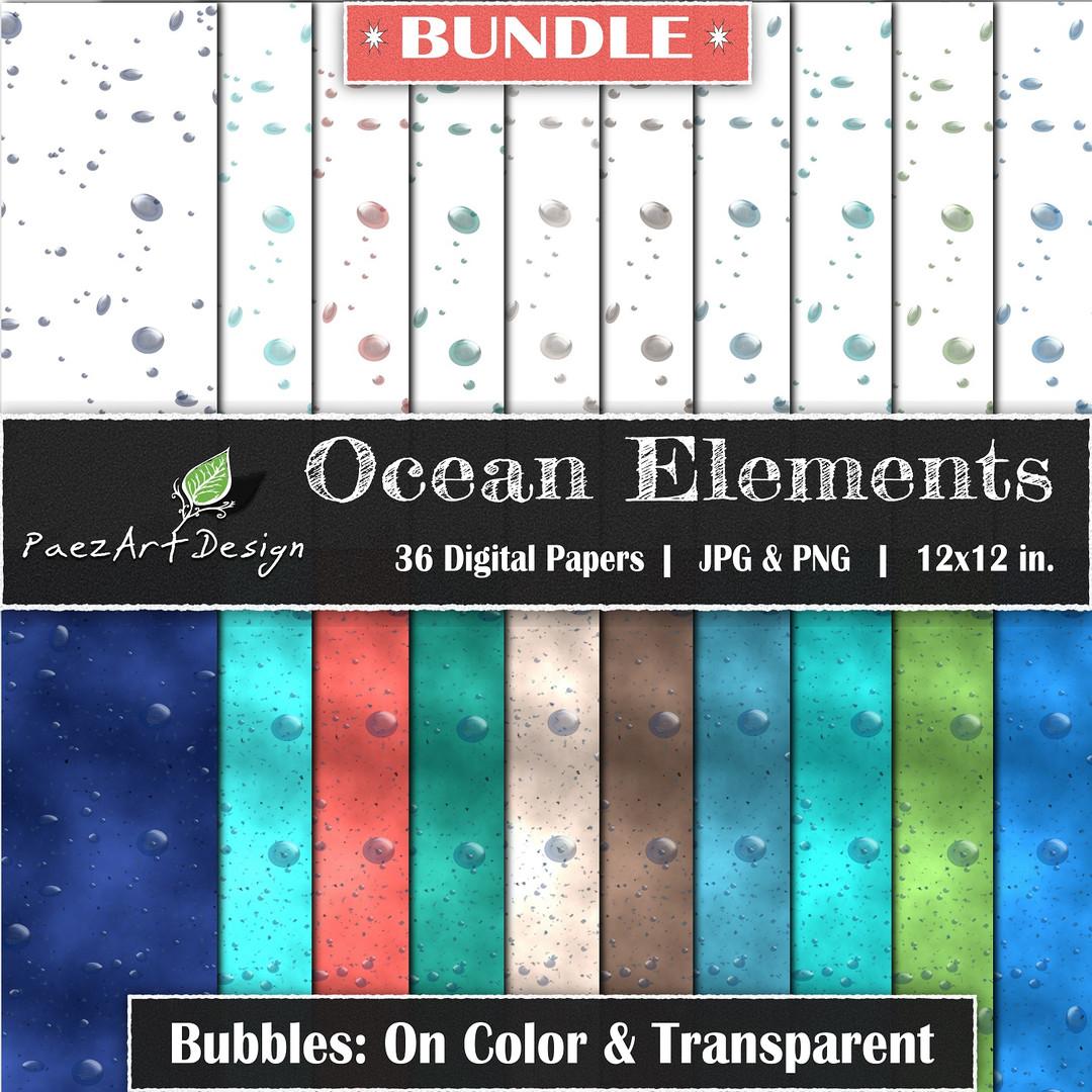 Ocean Elements: Bubbles Bundle {PaezArtDesign}