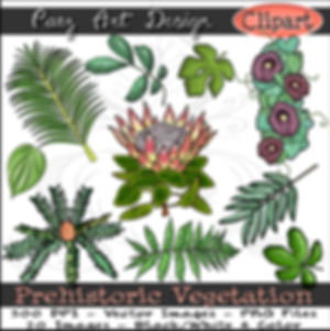 Prehistoric Vegetation Clip Art | Plant & Nature Graphics | Early History Images | Prehistorc Era Plant ClipArt for Educational Resources | PaezArtDesign Digital Art