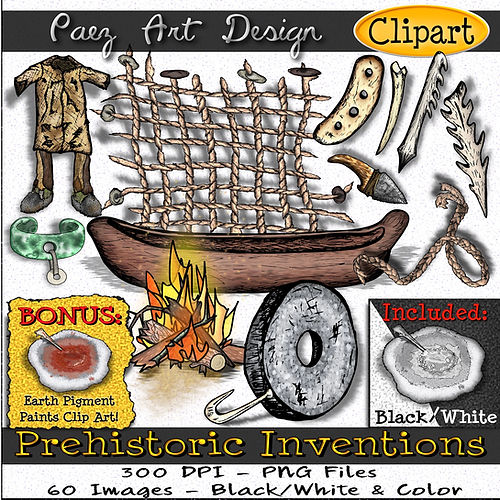 Prehistoric Invention Clip Art Images | History Graphics | Clothing, Ropes, Fire, The Wheel, Paint & Arts, Hunting, Tools, Jewelry, etc. | PaezArtDesign Digital Art