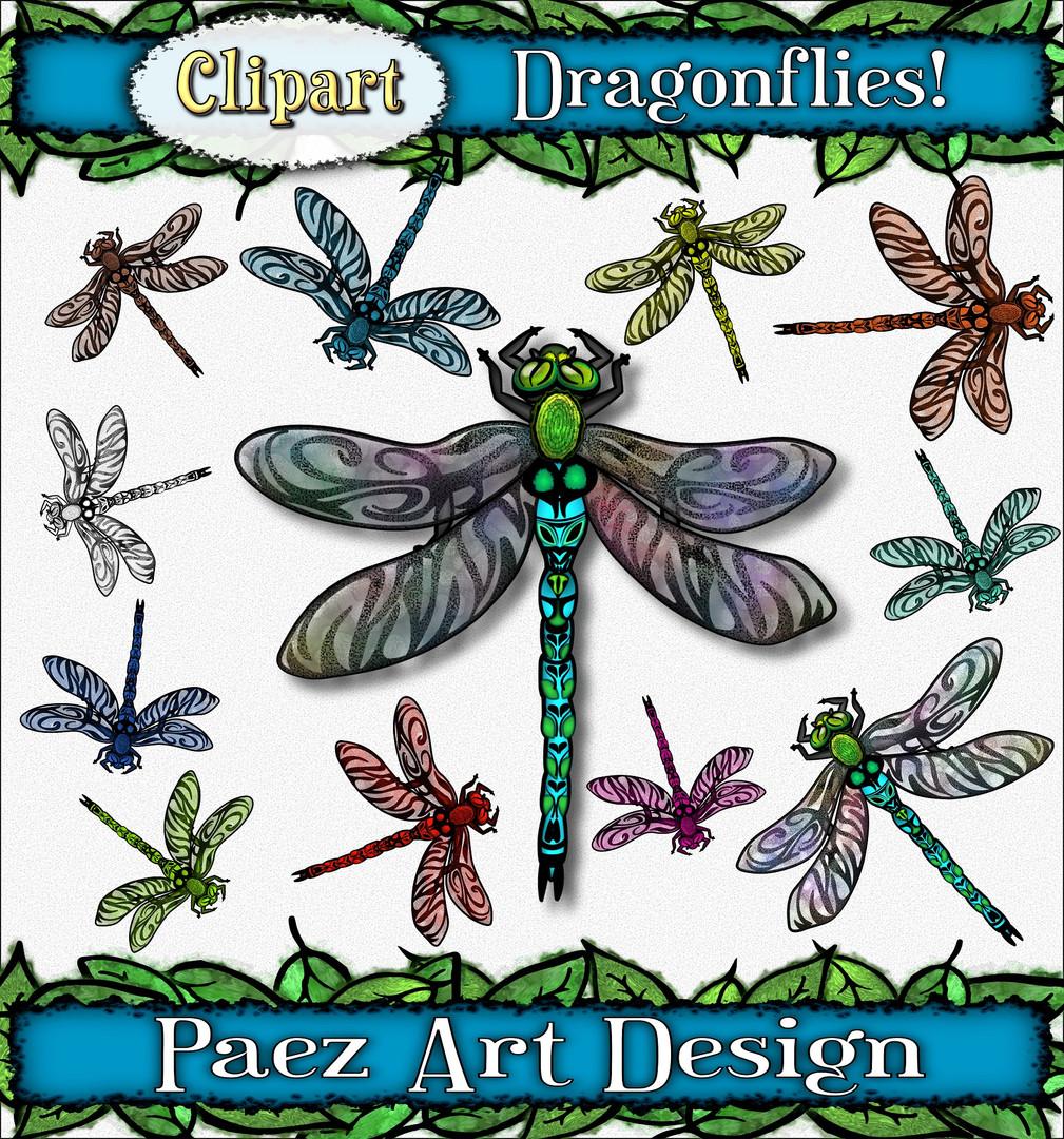Dragonfly Clip Art {PaezArtDesign}