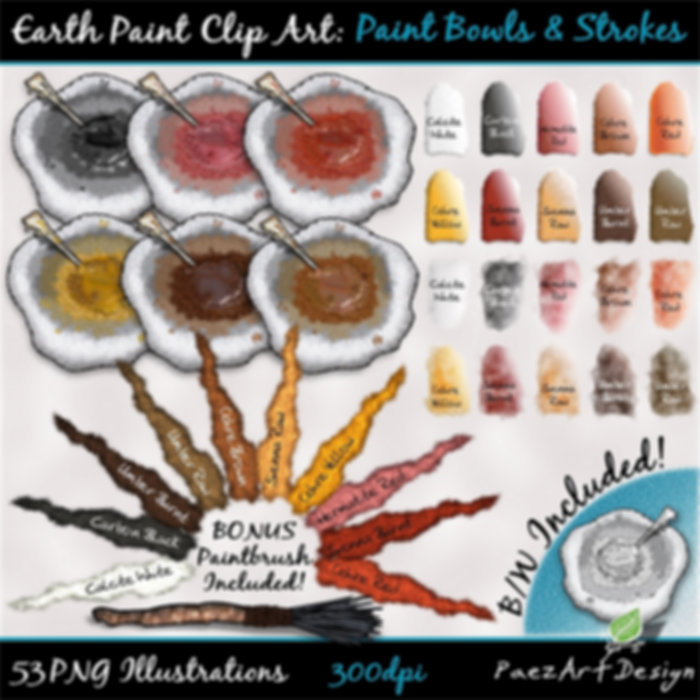 Earth Paint Clip Art: Paint Bowls & Strokes | PaezArtDesig Illustraton & Graphics | Digital Art Images for Education, Science, Social Studies, History, Art | Pigment Paint