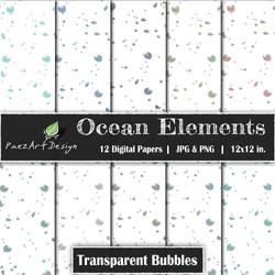 Ocean Elements: Bubbles Transparent {PaezArtDesign}